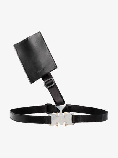 black triple buckle chest belt