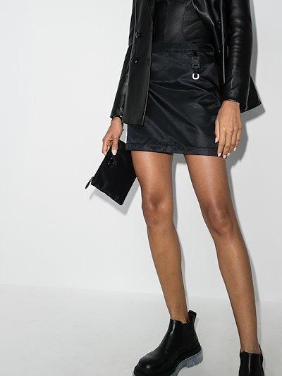 buckle strap detail mini skirt