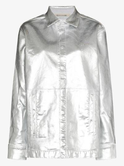 foil denim button-down shirt