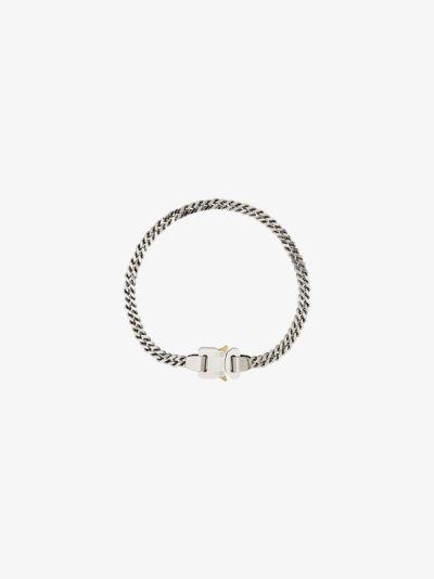 silver tone cubix buckle necklace