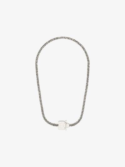 silver tone mini cubix buckle necklace