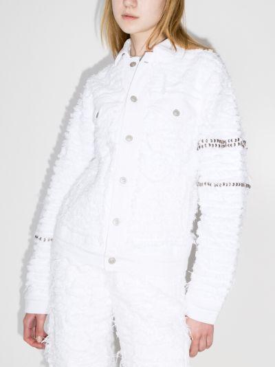 X Blackmeans embellished distressed denim jacket