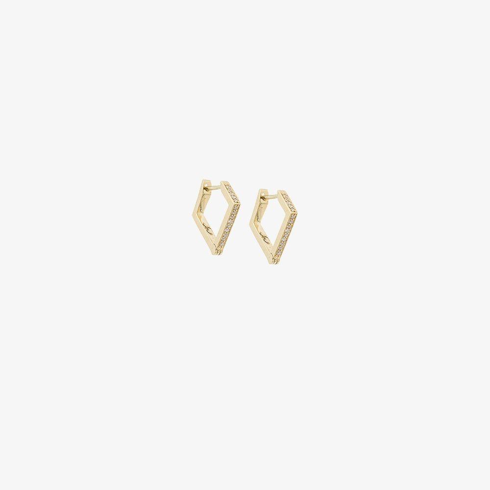 18K Yellow Gold Huggies Diamond Earrings