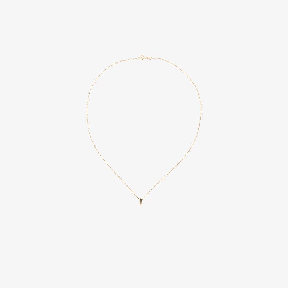18K Yellow Gold And Black Single Kite Diamond Necklace