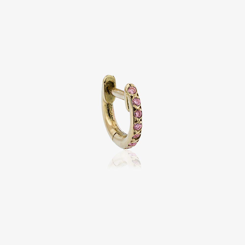 18K Rose Gold And Pink Sapphire Hug Hoop Earrings
