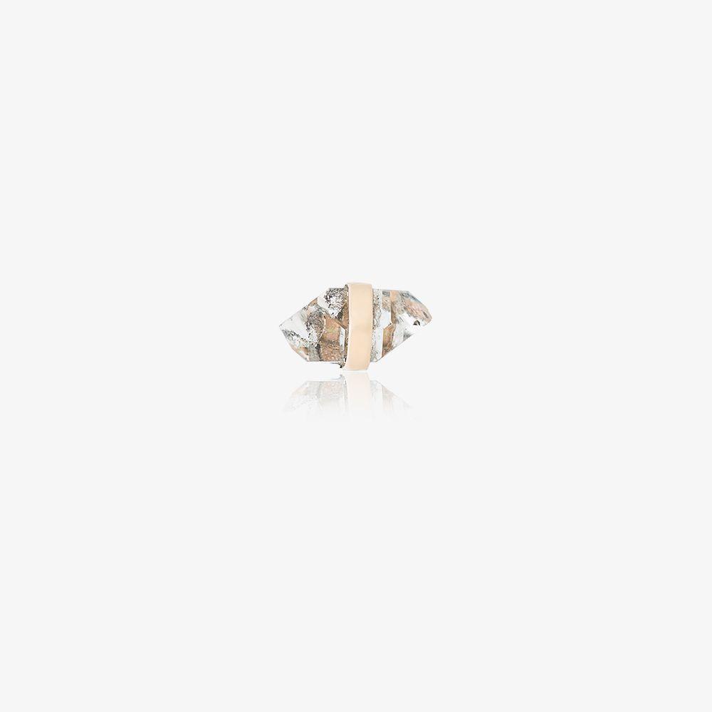 14K Yellow Gold Quartz Crystal Stud Earring