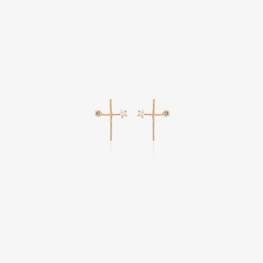 14K Yellow Gold Diamond Pearl Cross Earrings