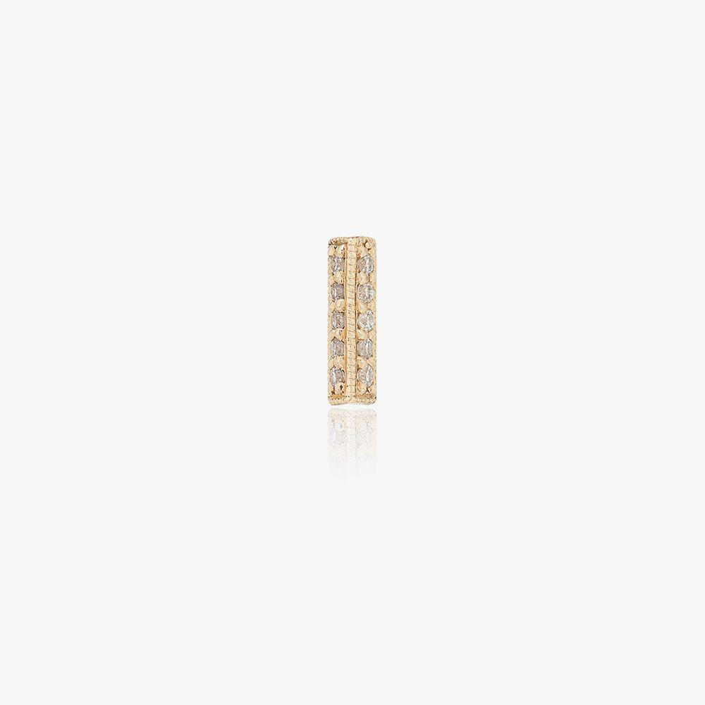 18K Yellow Gold And Oblong Diamond Single Earring