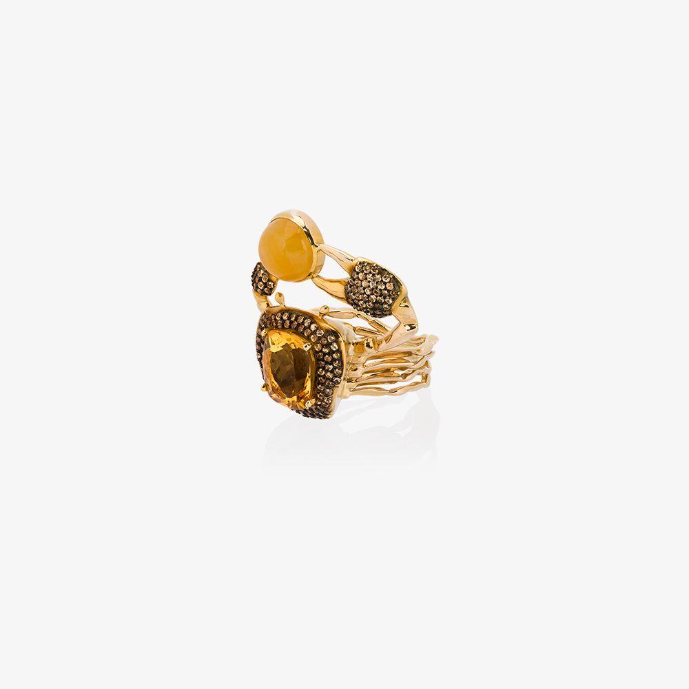18K Yellow Gold Thalasa Diamond Sapphire Ring