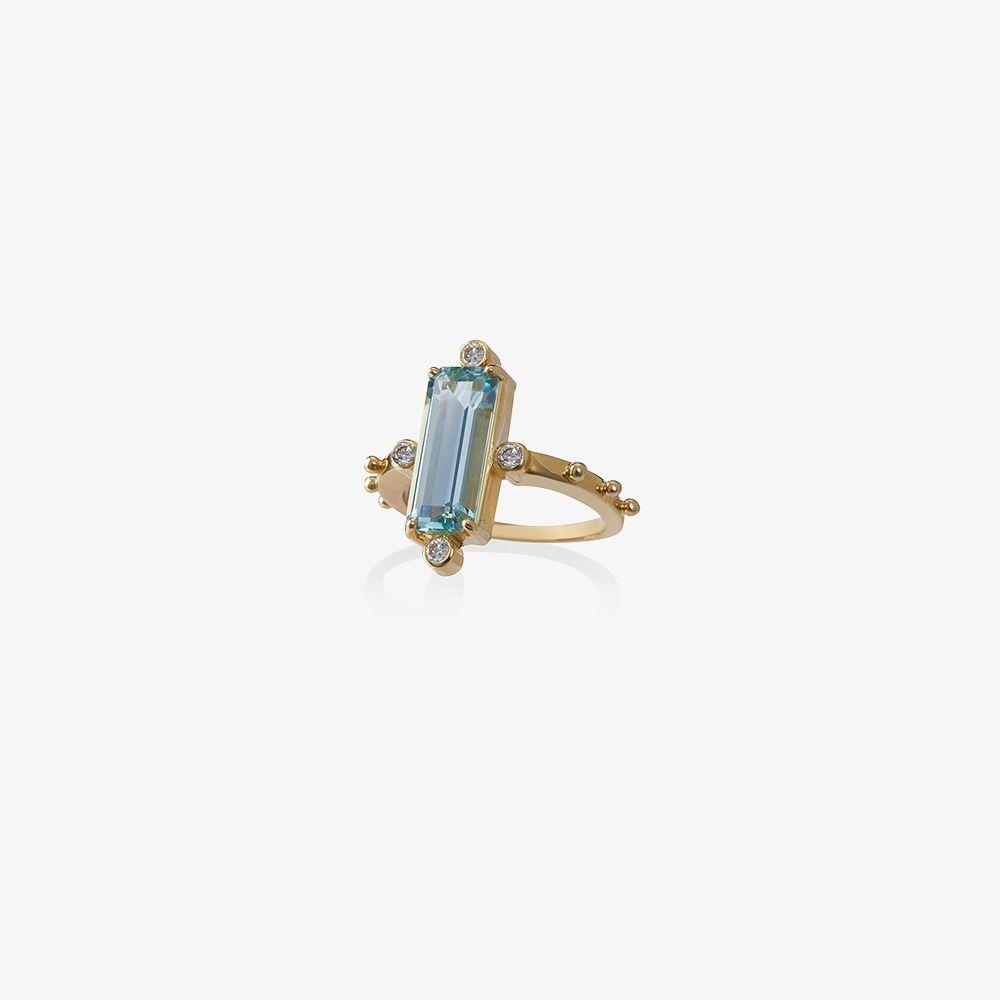 18K Yellow Gold Aquamarine Diamond Ring