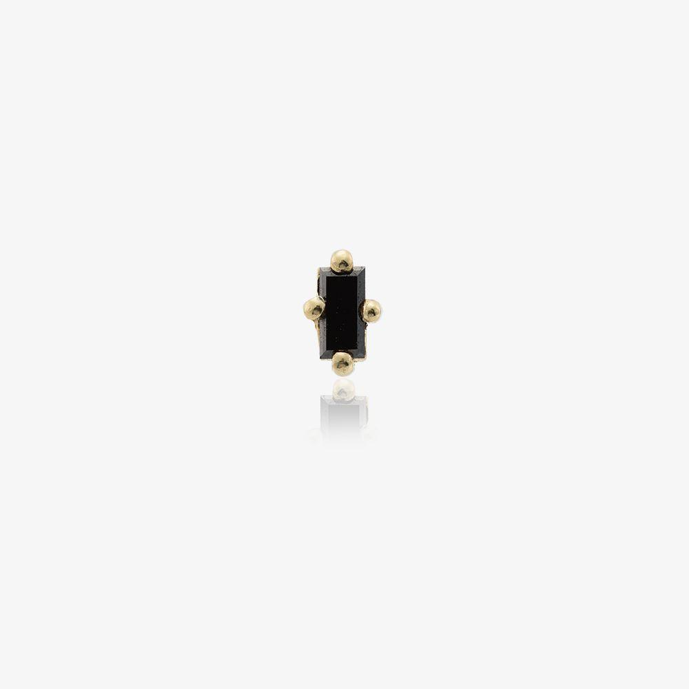 14K Yellow Gold Black Diamond Stud Earring