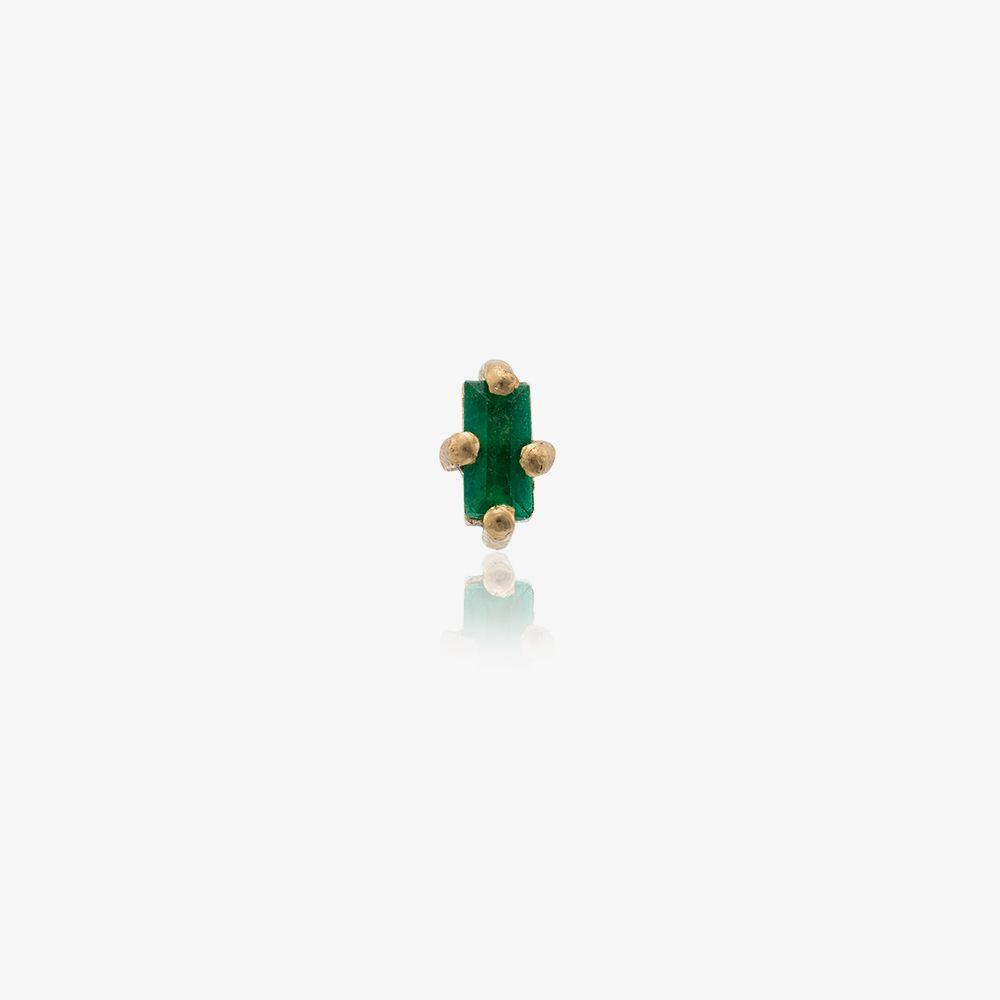 18K Yellow Gold Emerald Mini Stud Earring