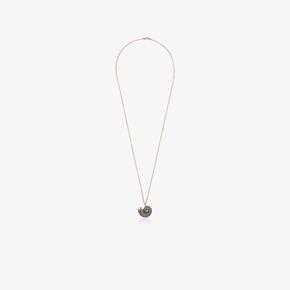 18K Rose Gold Diamond And Sapphire Shell Pendant