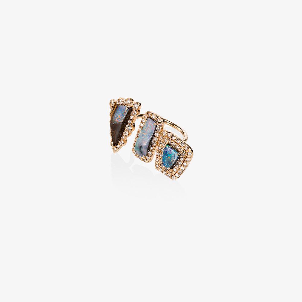 18K Rose Gold Boulder Opal Diamond Ring