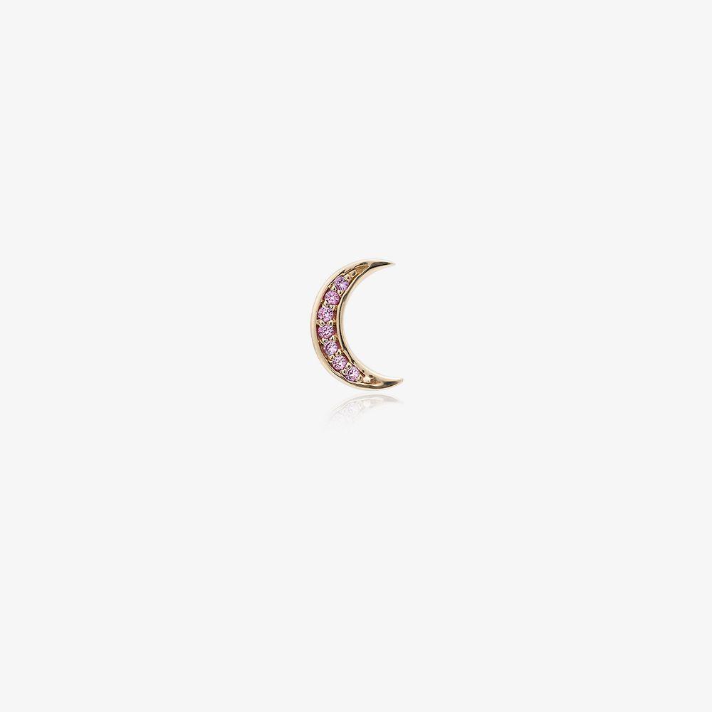 14K Yellow Gold Sapphire Moon Earring