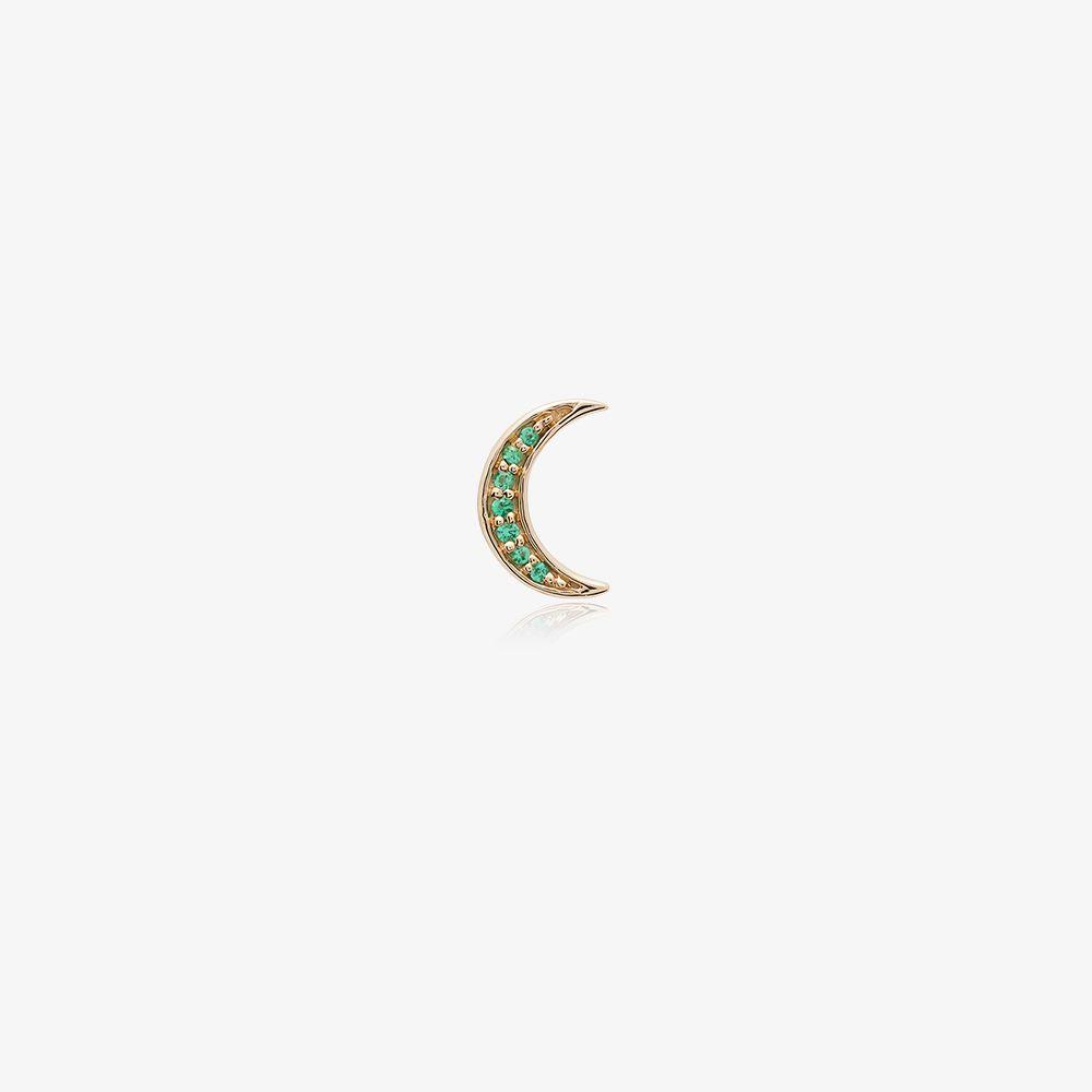 14K Yellow Gold Emerald Moon Earring