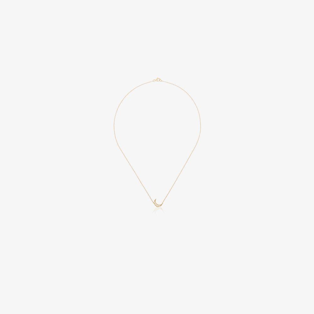 18K Yellow Gold Mini Crescent Diamond Necklace