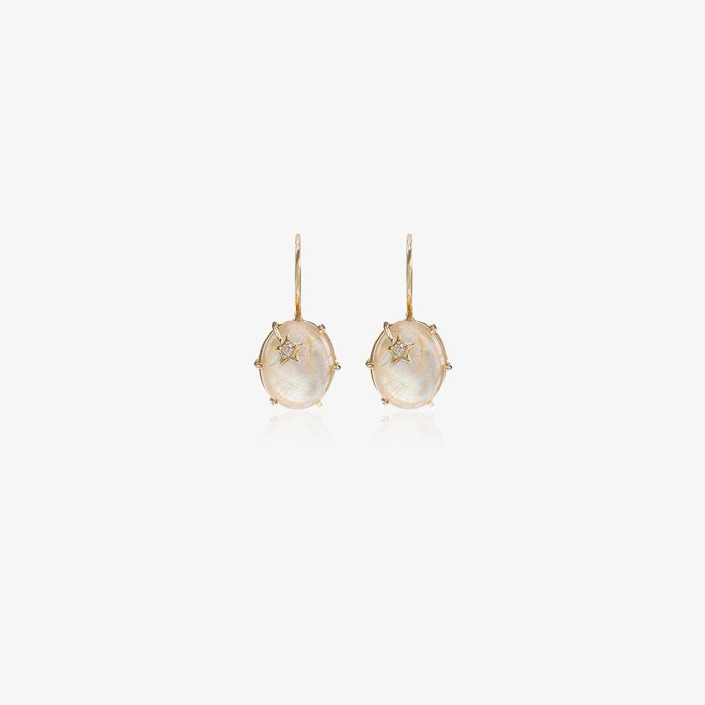 18K Yellow Gold Mini Galaxy Quartz Diamond Earrings