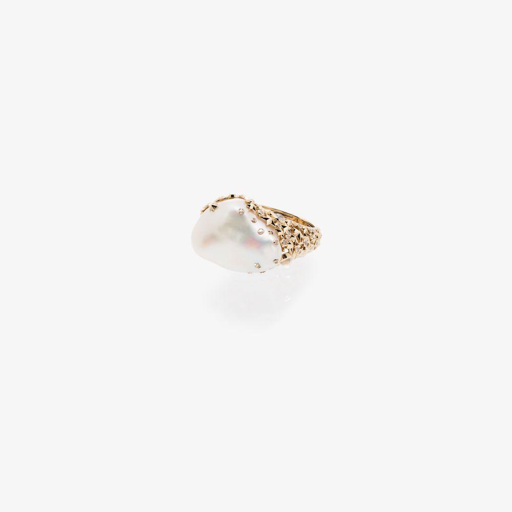 18K Yellow Gold Moonstone Pearl Diamond Ring