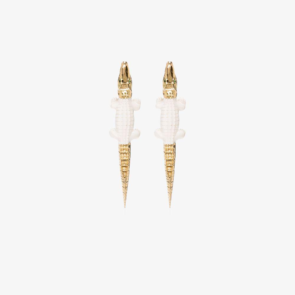 18K Yellow Gold Croc Drop Earrings