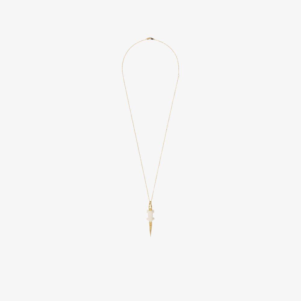 18K Yellow Gold Crocodile Pendant Necklace