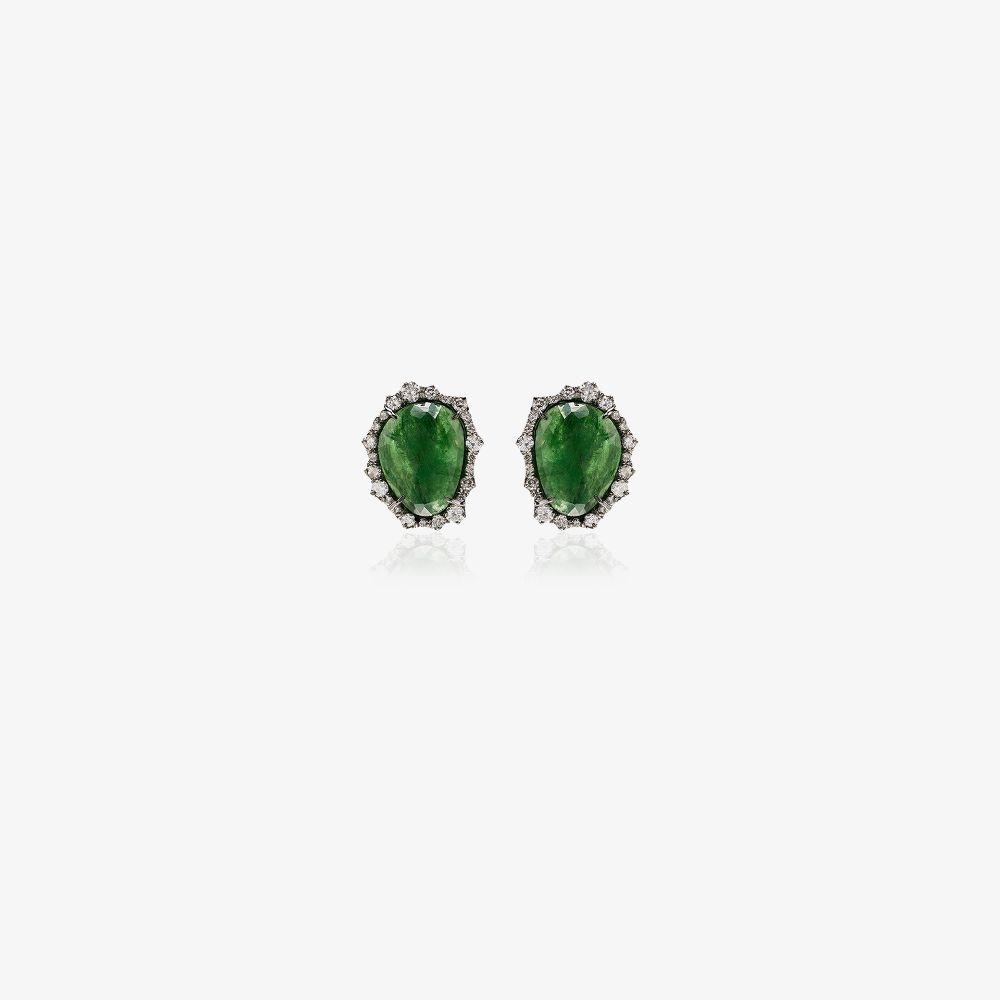 18K White Gold Green Gemstone Diamond Stud Earrings