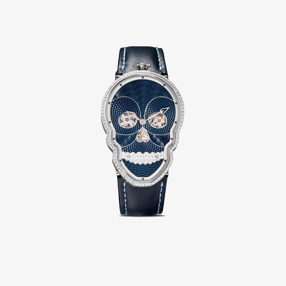 Blue And Black Petit Skull Diamond Watch
