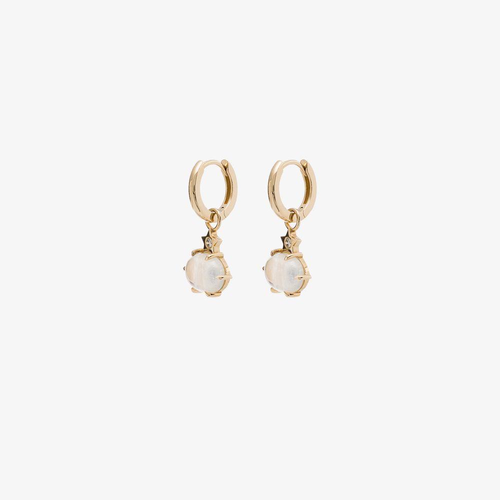 14K Yellow Gold Mini Cosmo Moonstone Diamond Earrings