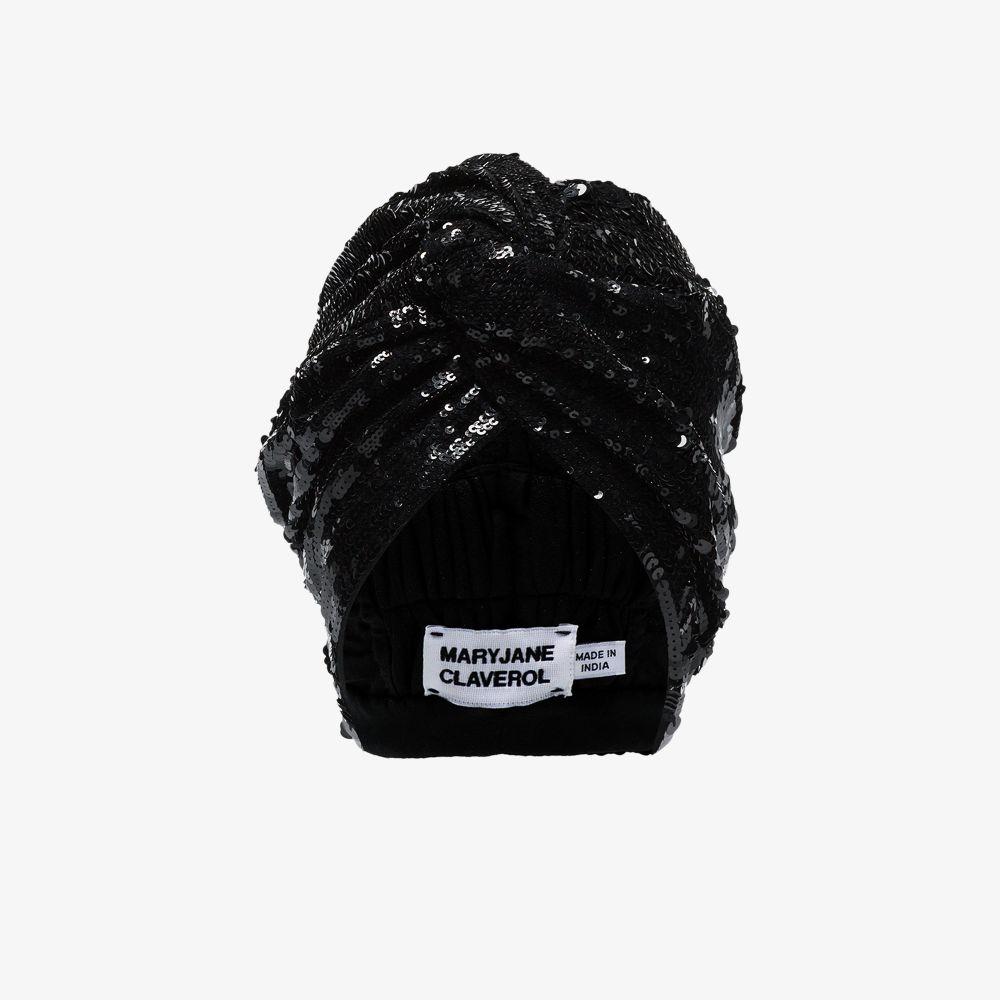 Black Adele Beaded Sequin Turban