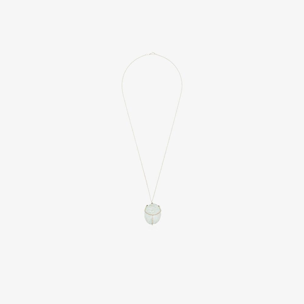 18K White Gold Aquamarine Diamond Pendant Necklace
