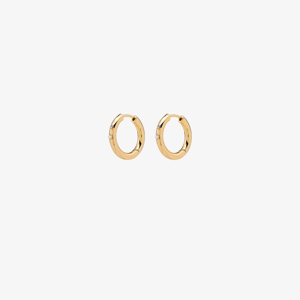 Gold-Plated Brigitte Pearl Hoop Earrings