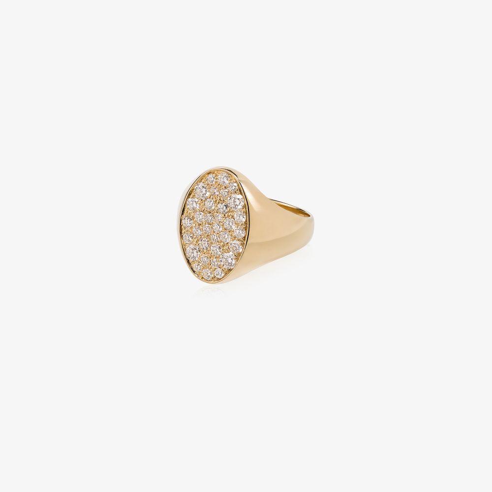 14K Yellow Gold Galaxy Diamond Signet Ring