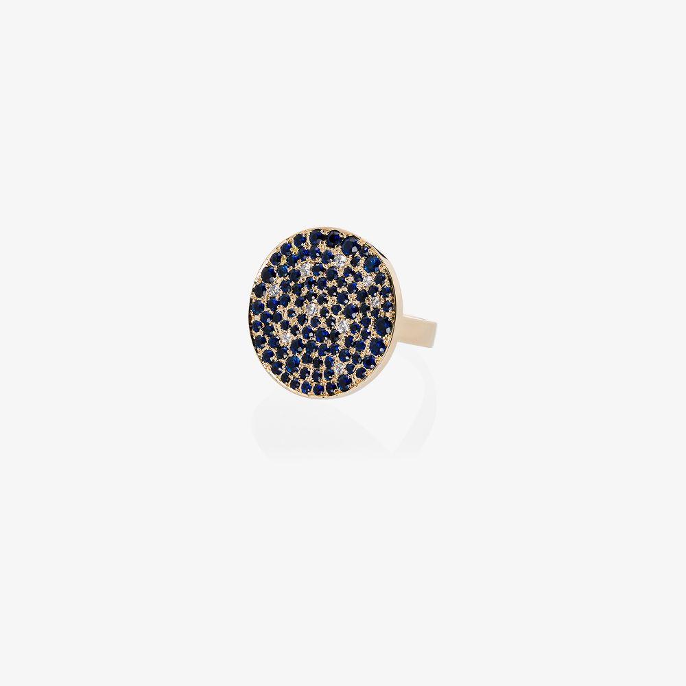 14K Yellow Gold Galaxy Diamond Sapphire Ring