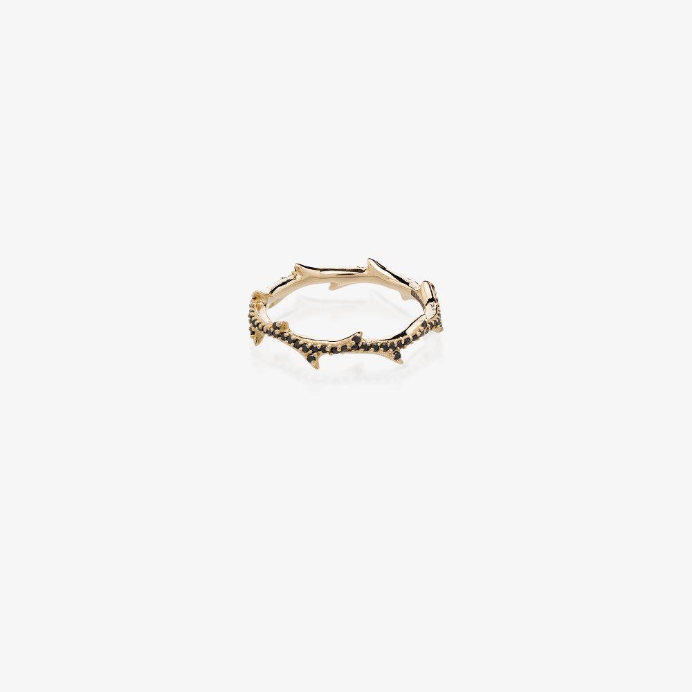 14K Yellow Gold Crown Of Thorns Black Diamond Ring