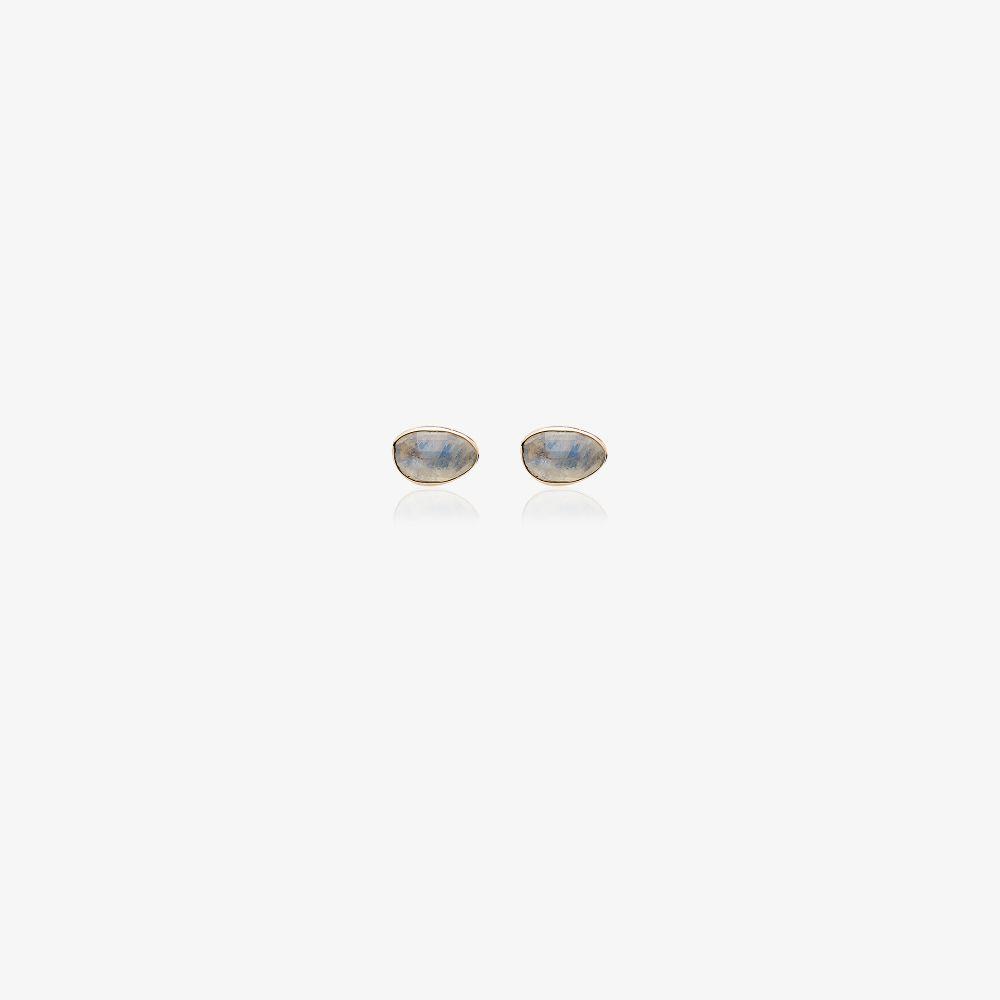 Rainbow 14kt Yellow Gold Moonstone Stud Earrings
