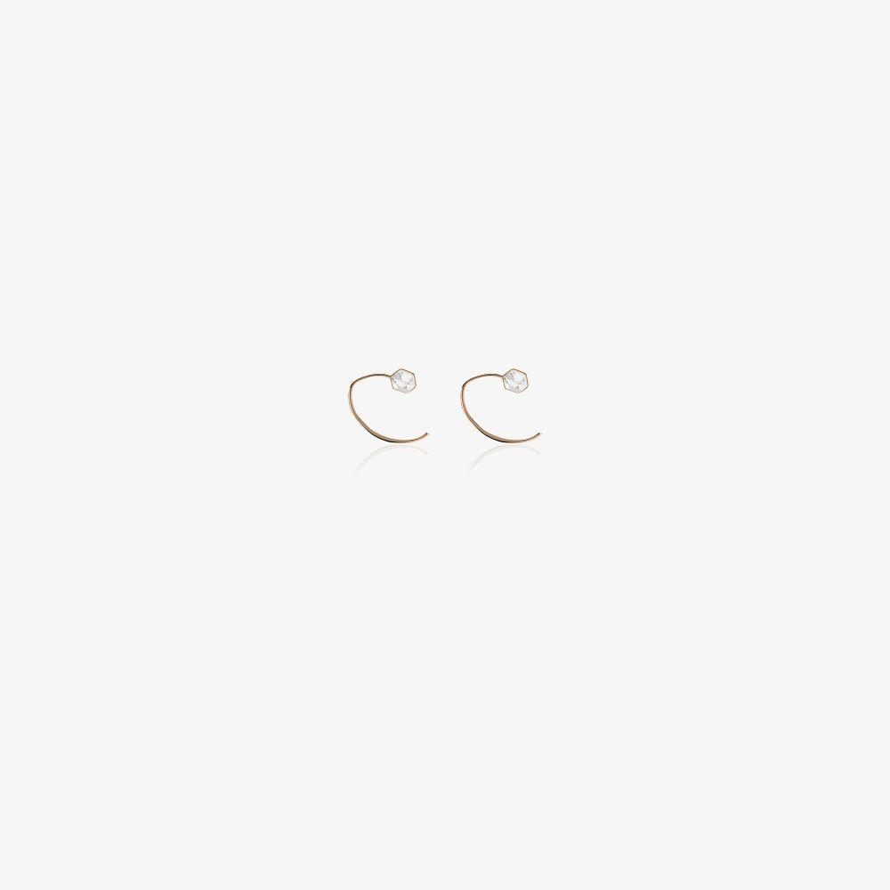 14K Yellow Gold Herkimer Mini Wishbone Crystal Huggie Earrings