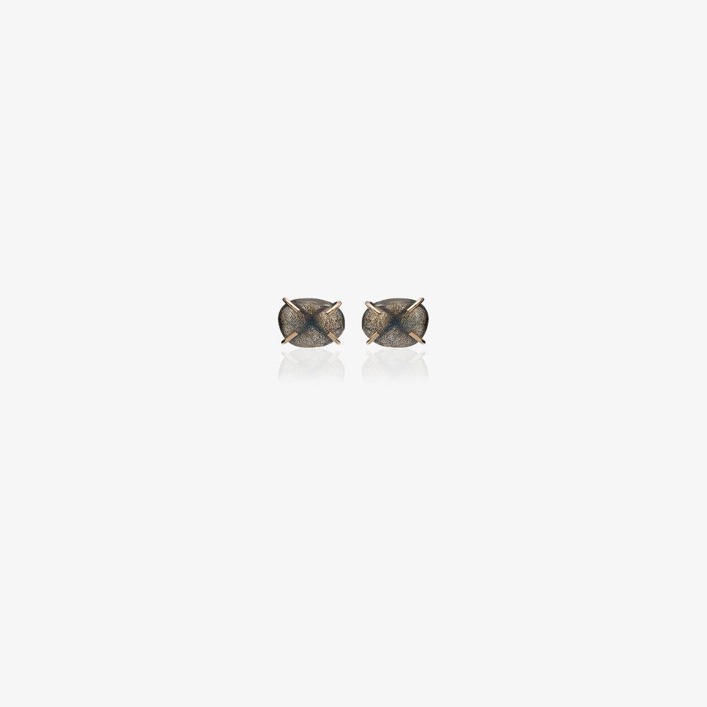 14K Yellow Gold Labradorite Stud Earrings