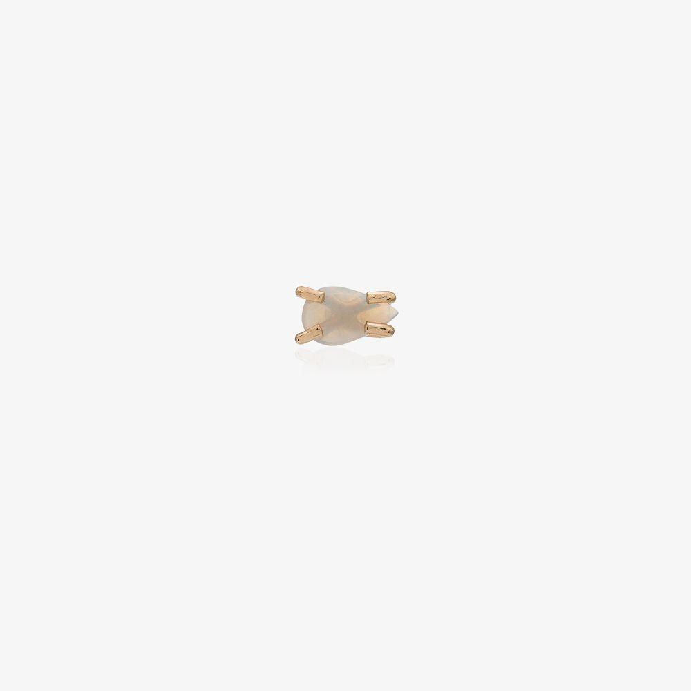 14K Yellow Gold Opal Stud Earring