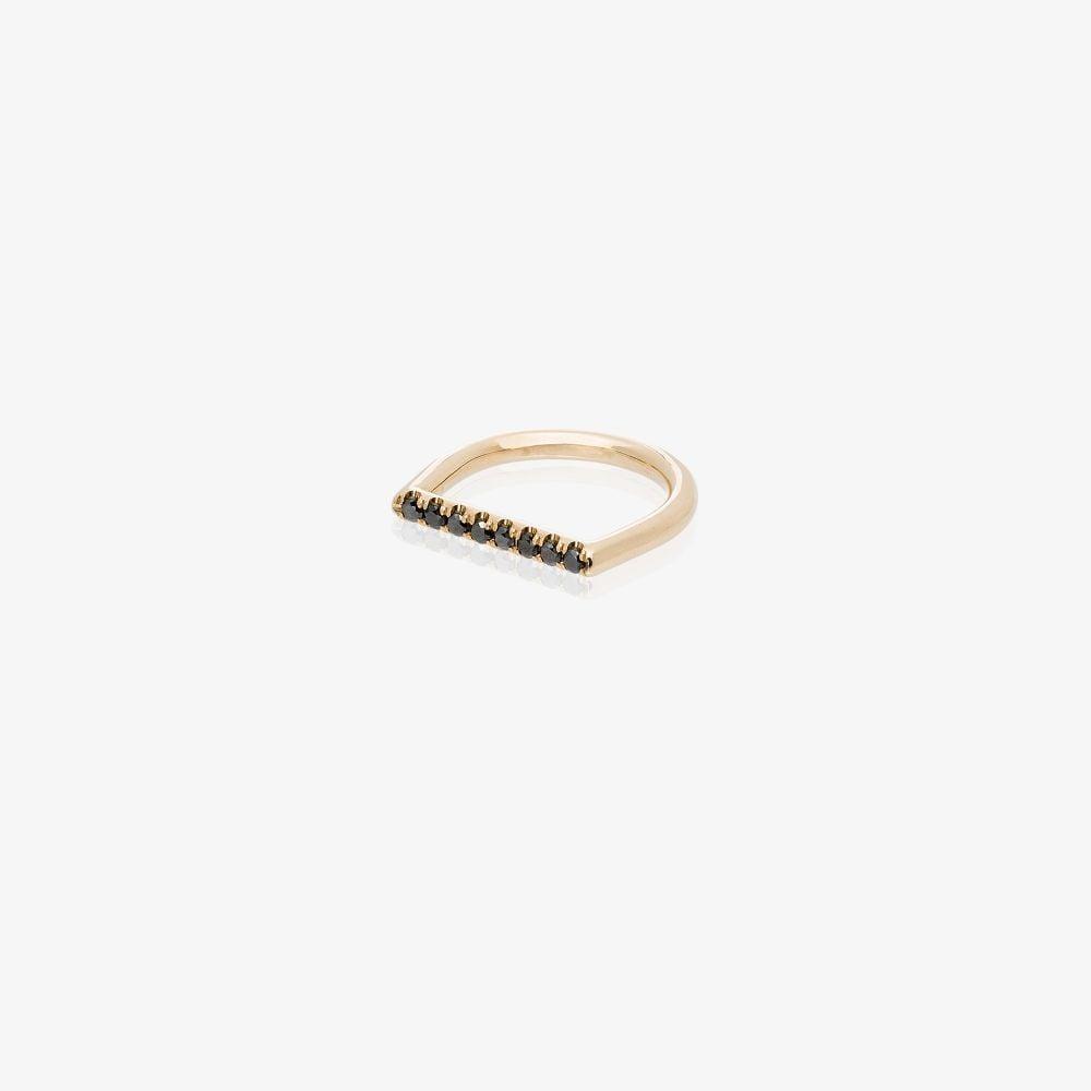 14K Yellow Gold Square Black Diamond Ring