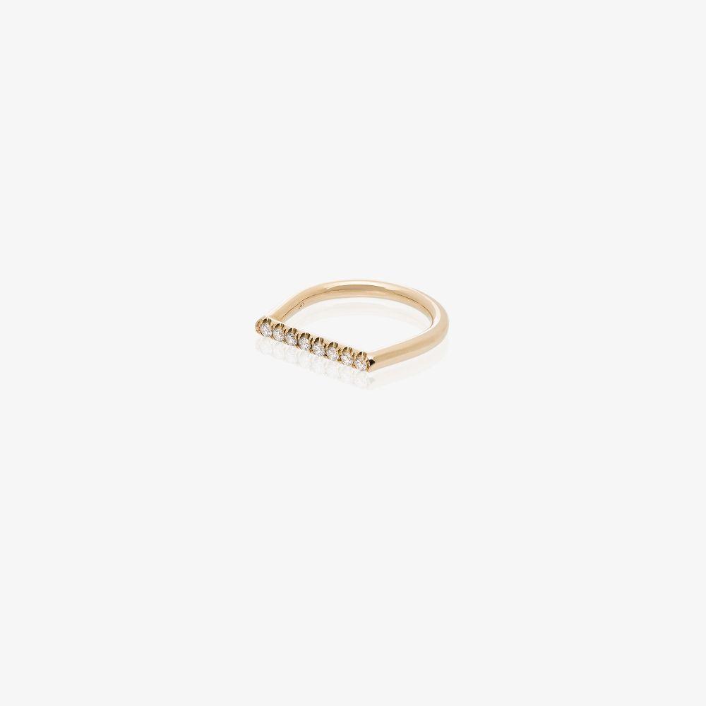 14K Yellow Gold Square Diamond Ring
