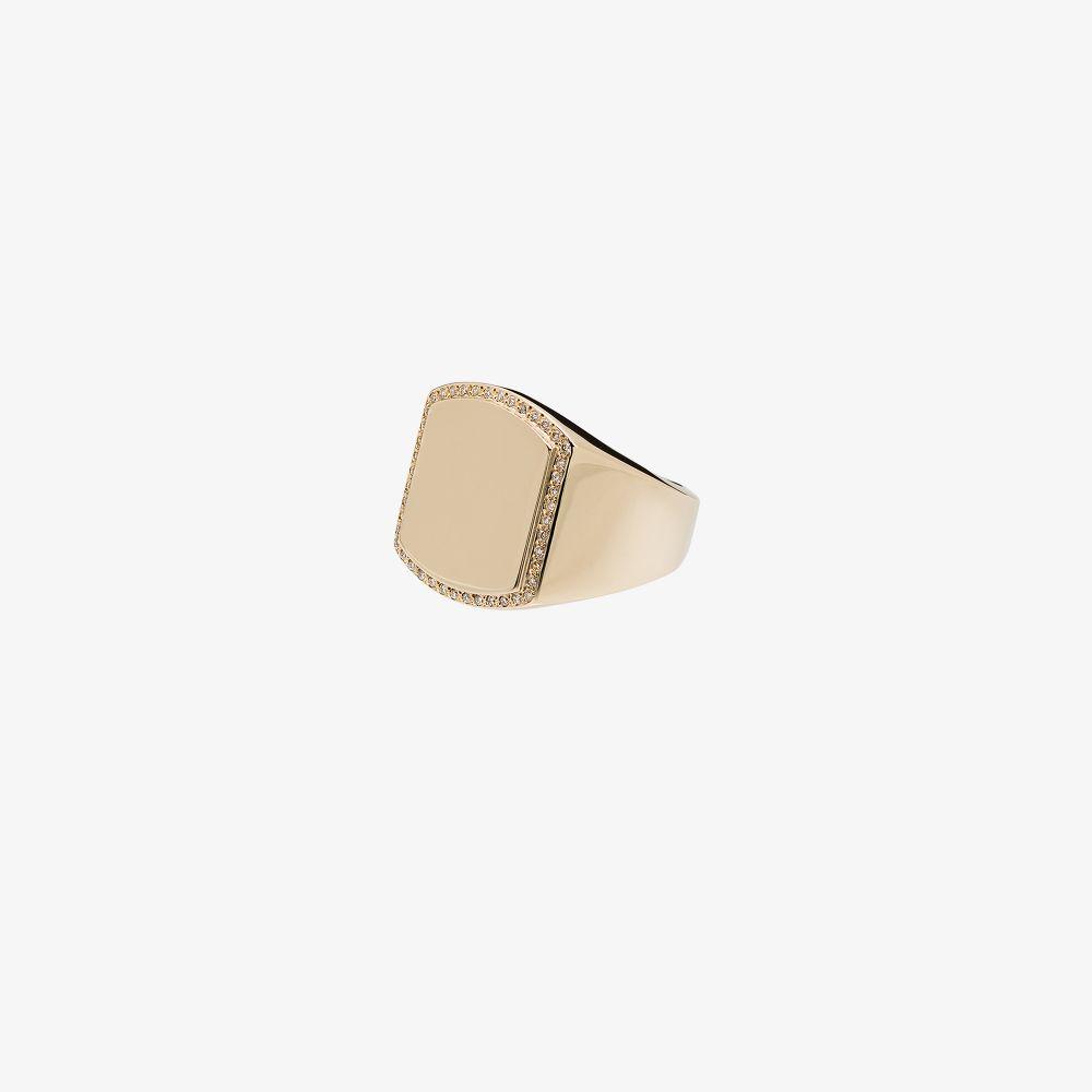 14K Yellow Gold Boyfriend Signet Diamond Ring
