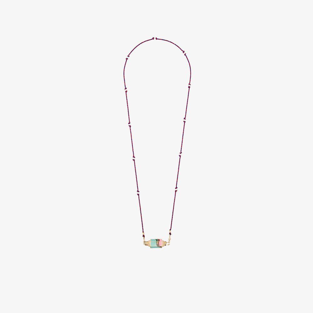14K Yellow Gold Rainbow Waterfall Sapphire Necklace