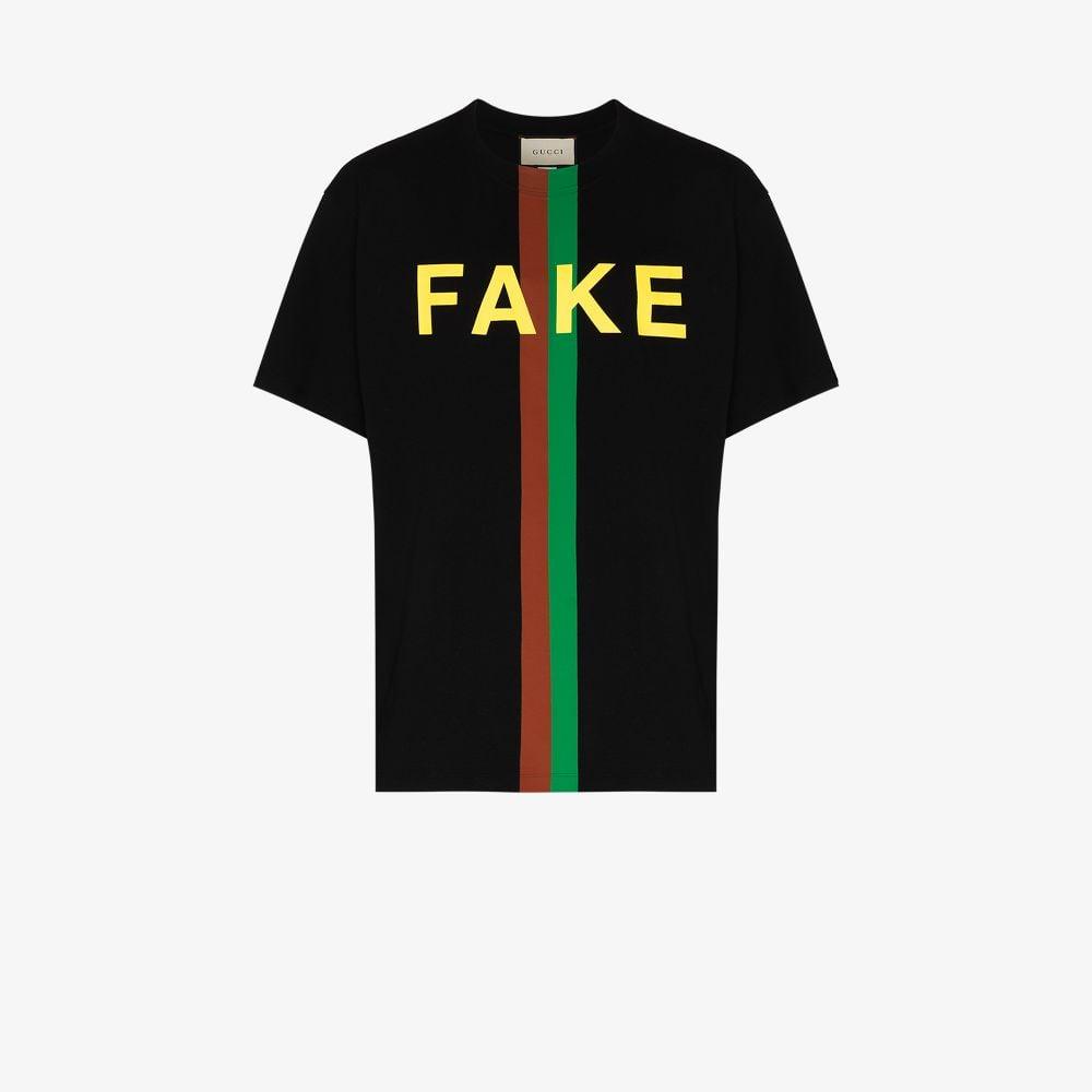 Gucci Cottons BLACK FAKE/NOT PRINTED T-SHIRT