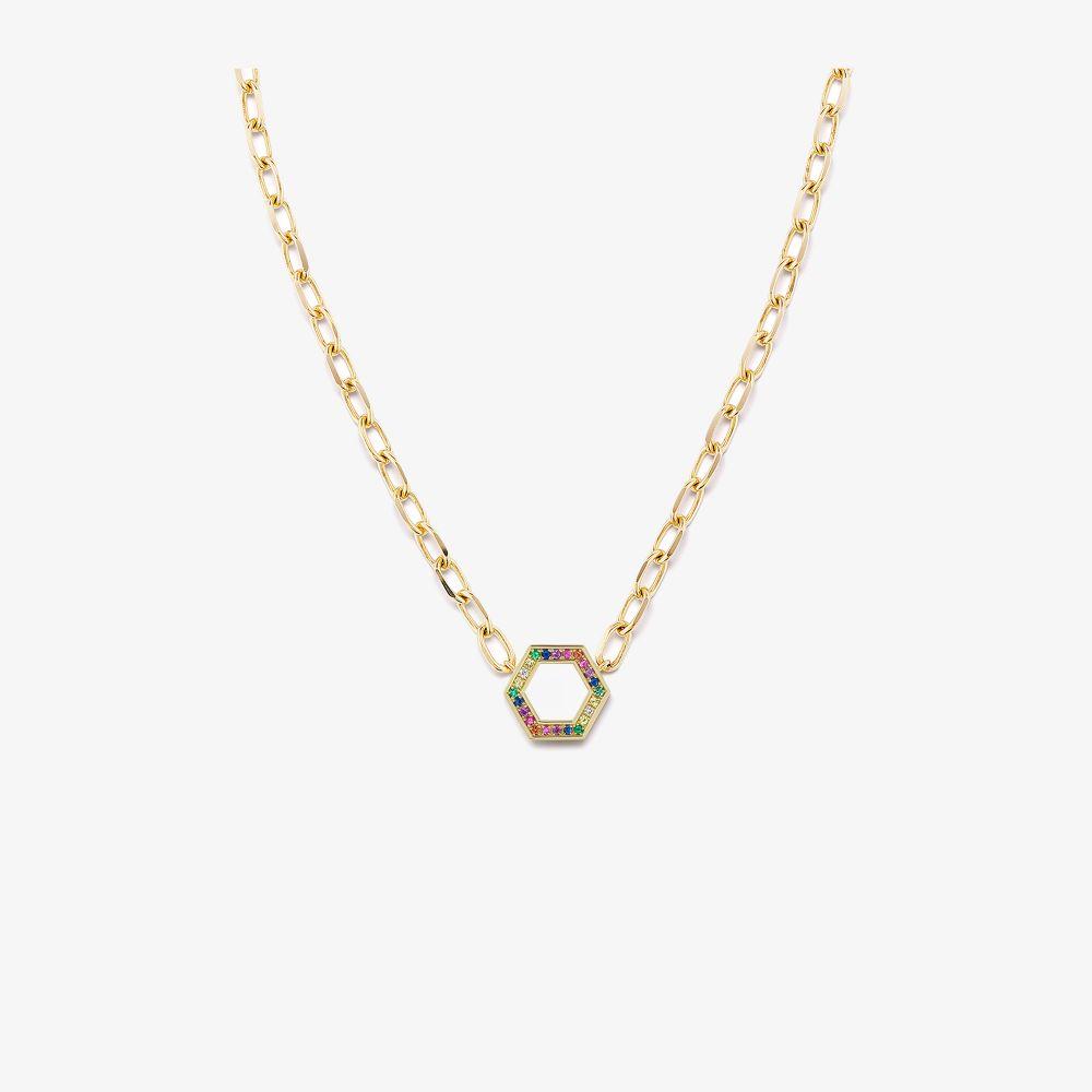 18K Yellow Gold Rainbow Sapphire Hexagon Necklace
