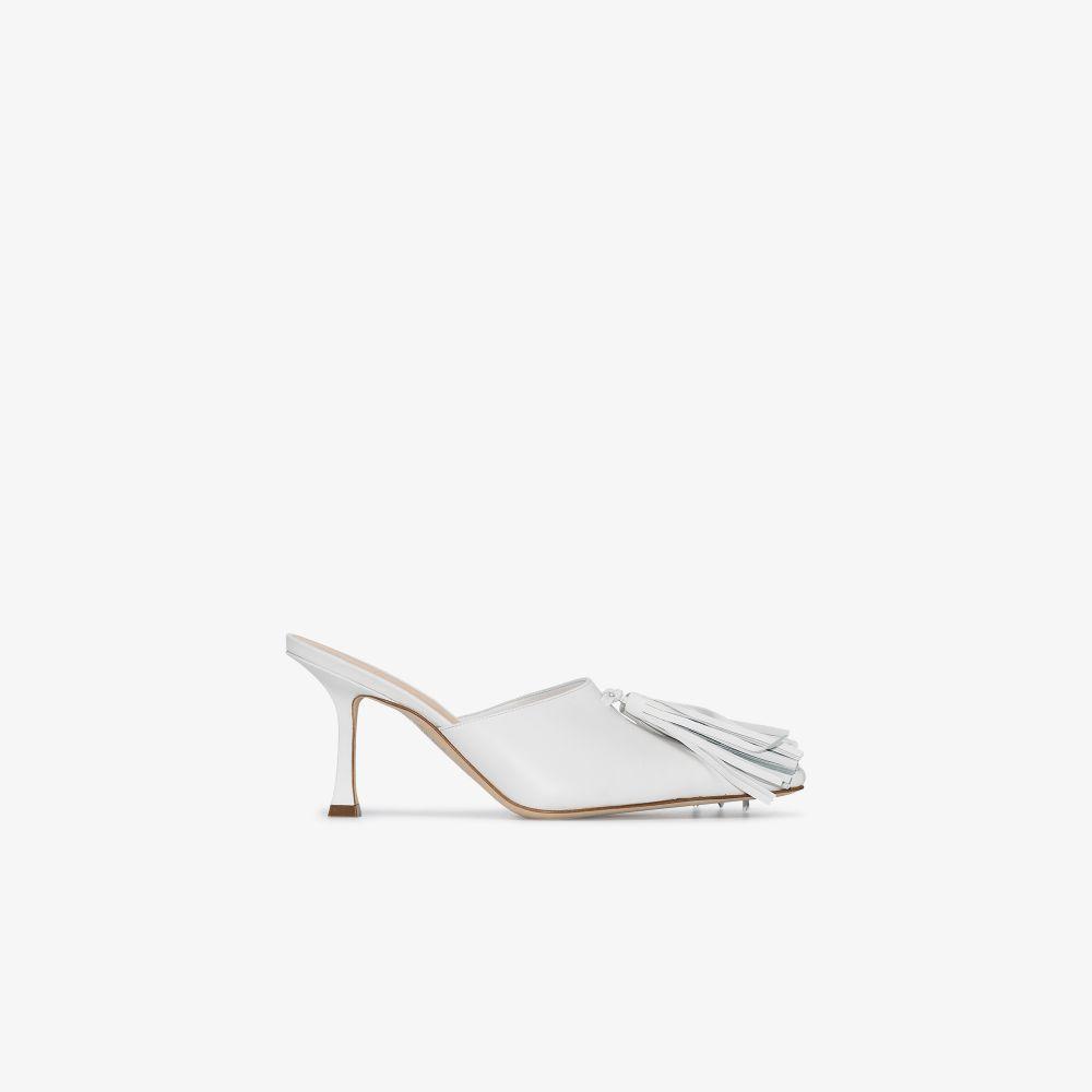 White Agatha 75 Tassel Leather Mules