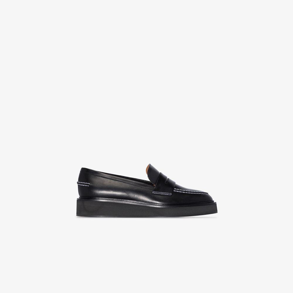 Black Monsano Flatform Leather Loafers