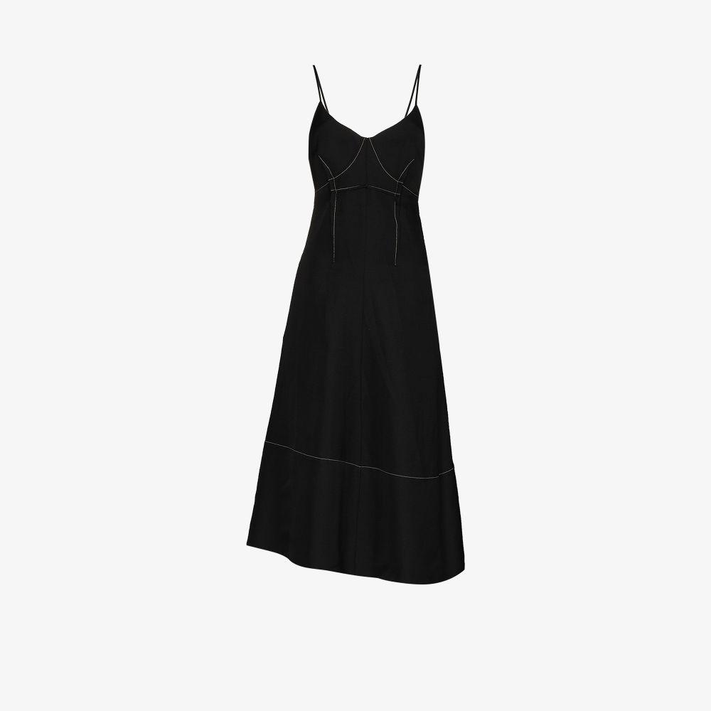 Jil Sander Dresses BLACK V-NECK ASYMMETRIC MIDI DRESS