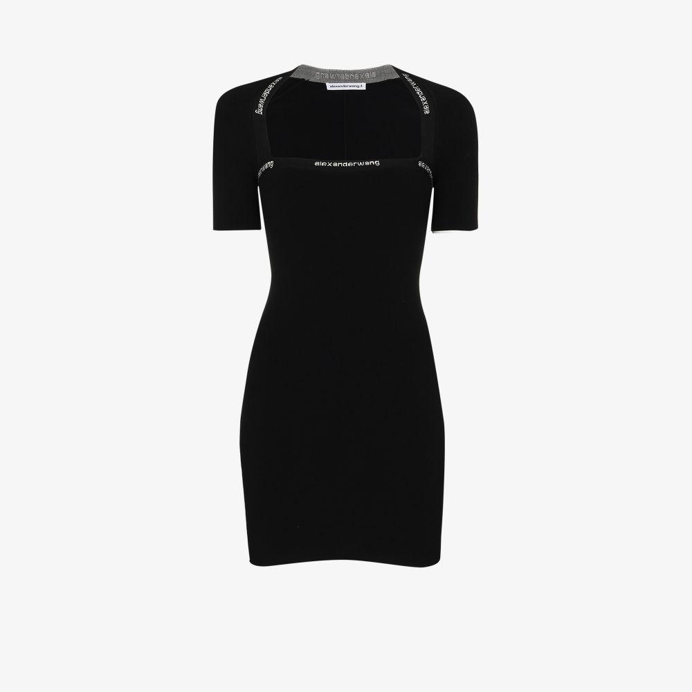 Alexander Wang Dresses BLACK LOGO TRIM MINI DRESS