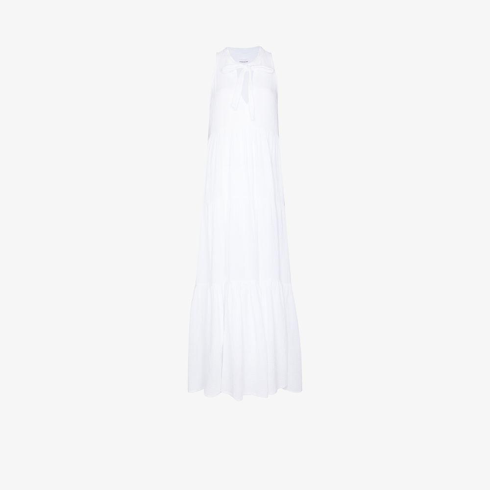 Eve Neck Tie Cotton Maxi Dress