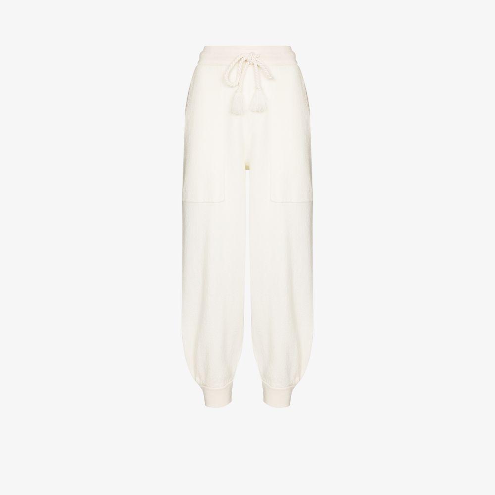Ulla Johnson Wools WHITE ALFIE MERINO WOOL TRACK PANTS